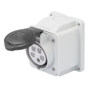 10° ANGLED SURFACE-MOUNTING SOCKET-OUTLET - IP44 - 3P+E 32A 480-500V 50/60HZ - BLACK - 7H - SCREW WIRING