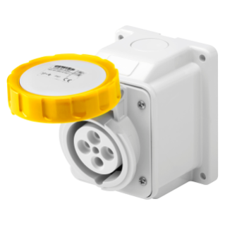 10° ANGLED SURFACE-MOUNTING SOCKET-OUTLET - IP67 - 3P+E 32A 100-130V 50/60HZ - YELLOW - 4H - SCREW WIRING