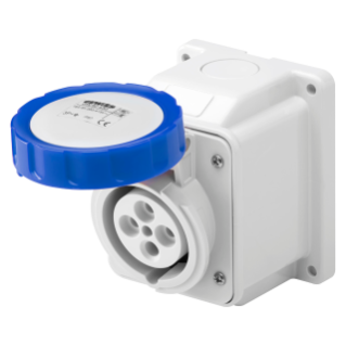 10° ANGLED SURFACE-MOUNTING SOCKET-OUTLET - IP67 - 3P+N+E 32A 200-250V 50/60HZ - BLUE - 9H - SCREW WIRING