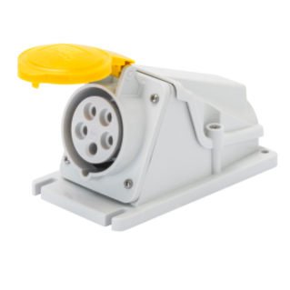 90° ANGLED SURFACE-MOUNTING SOCKET-OUTLET - IP44 - 2P+E 16A 100-130V 50/60HZ - YELLOW - 4H - SCREW WIRING