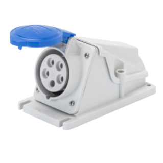 90° ANGLED SURFACE-MOUNTING SOCKET-OUTLET - IP44 - 2P+E 32A 200-250V 50/60HZ - BLUE - 6H - SCREW WIRING