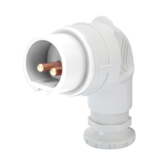 90° PLUG - IP44 - 2P 16A 40-50V 50-60HZ - WHITE - 12H - SCREW WIRING