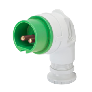90° PLUG - IP44 - 3P 16A 20-25V and 40-50V 401-500HZ - GREEN - 11H - SCREW WIRING