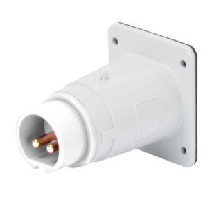 STRAIGHT FLUSH MOUNTING INLET - IP44 - 2P 32A 20-25 e 40-50V 50-60HZ d.c. - WHITE - 10H - SCREW WIRING