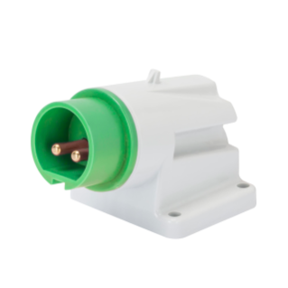 90° ANGLED SURFACE MOUNTING INLET - IP44 - 3P 32A 20-25V and 40-50V 401-500HZ - GREEN - 11H - SCREW WIRING