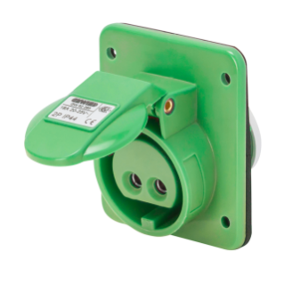 10° ANGLED FLUSH-MOUNTING SOCKET-OUTLET - IP44 - 3P 16A 20-25V and 40-50V 100-200HZ - GREEN - 4H - SCREW WIRING