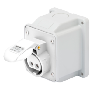 10° ANGLED SURFACE-MOUNTING SOCKET-OUTLET - IP44 - 3P 32A 40-50V 50-60HZ - WHITE - 12H - SCREW WIRING