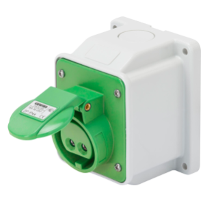 10° ANGLED SURFACE-MOUNTING SOCKET-OUTLET - IP44 - 3P 32A 20-25V and 40-50V 401-500HZ - GREEN - 11H - SCREW WIRING