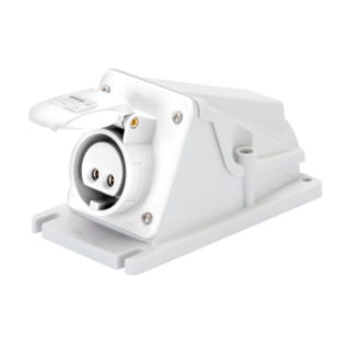 90° ANGLED SURFACE-MOUNTING SOCKET-OUTLET - IP44 - 2P 32A 20-25V and 40-50V d.c. - WHITE - 10H - SCREW WIRING