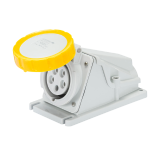 90° ANGLED SURFACE-MOUNTING SOCKET-OUTLET - IP67 - 2P+E 32A 100-130V 50/60HZ - YELLOW - 4H - SCREW WIRING