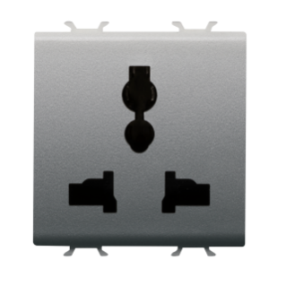 MULTISTANDARD SOCKET-OUTLET 2P+E - 13 A/250 V ac - 15 A/127 V ac - 2 MODULES - TITANIUM - CHORUS