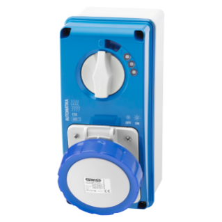 VERTICAL FIXED INTERLOCKED SOCKET OUTLET - AUTOMATIKA - MT 6KA CURVE C - WITH BOTTOM - 2P+E 16A 230V 6H - IP67