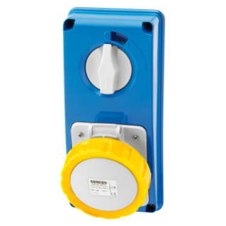 VERTICAL FIXED INTERLOCKED SOCKET OUTLET - WITHOUT BOTTOM - WITHOUT FUSE-HOLDER BASE - 3P+E 32A 100-130V - 50/60HZ 4H - IP67