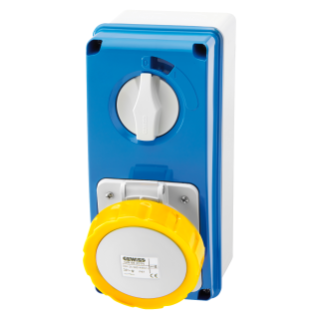 VERTICAL FIXED INTERLOCKED SOCKET OUTLET - WITH BOTTOM - WITHOUT FUSE-HOLDER BASE - 3P+E 16A 100-130V - 50/60HZ 4H - IP67