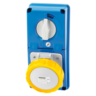 VERTICAL FIXED INTERLOCKED SOCKET OUTLET - WITHOUT BOTTOM - WITH FUSE-HOLDER BASE - 3P+E 16A 100-130V - 50/60HZ 4H - IP67