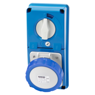 VERTICAL FIXED INTERLOCKED SOCKET OUTLET - WITHOUT BOTTOM - WITH FUSE-HOLDER BASE - 2P+E 16A 200-250V - 50/60HZ 6H - IP67