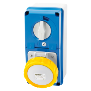 VERTICAL FIXED INTERLOCKED SOCKET OUTLET - WITH BOTTOM - WITH FUSE-HOLDER BASE - 3P+E 16A 100-130V - 50/60HZ 4H - IP67
