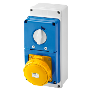 VERTICAL FIXED INTERLOCKED SOCKET OUTLET - WITH BOTTOM - WITH FUSE-HOLDER BASE - 2P+E 63A 100-130V - 50/60HZ 4H - IP67