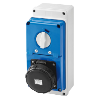 VERTICAL FIXED INTERLOCKED SOCKET OUTLET - WITH BOTTOM - WITH FUSE-HOLDER BASE - 3P+E 63A 480-500V - 50/60HZ 7H - IP67