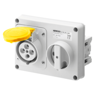 FIXED INTERLOCKED HORIZONTAL SOCKET-OUTLET - WITHOUT BOTTOM - WITHOUT FUSE-HOLDER BASE - 3P+E 16A 100-130V - 50/60HZ 4H - IP44