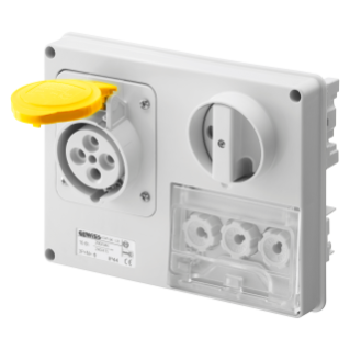 FIXED INTERLOCKED HORIZONTAL SOCKET-OUTLET - WITHOUT BOTTOM - WITH FUSE-HOLDER BASE - 3P+N+E 16A 100-130V - 50/60HZ 4H - IP44