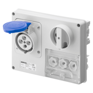 FIXED INTERLOCKED HORIZONTAL SOCKET-OUTLET - WITHOUT BOTTOM - WITH FUSE-HOLDER BASE - 3P+N+E 32A 200-250V - 50/60HZ 9H - IP44