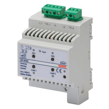 KNX universal dimmer actuators - IP20 - DIN rail mounting