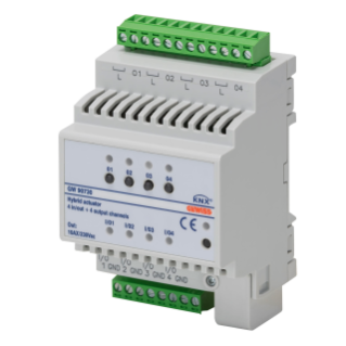 ACTUATOR - 4 CHANNELS 10 A + 4 UNIVERSAL INPUT- KNX - 4 MODULES - DIN RAIL MOUNTING