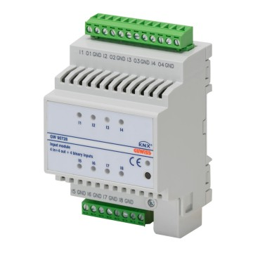 KNX 8-channel (4 digital + 4 universal) input module - IP20 - DIN rail mounting