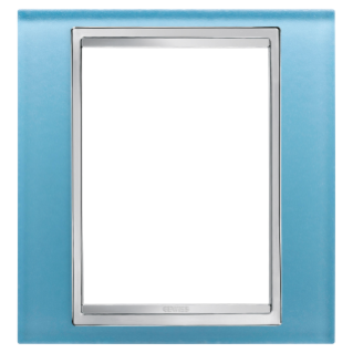 LUX PLATE - BRITISH STANDARD - GLASS - 1 GANG  - AQUAMARINE - CHORUS