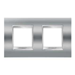 LUX INTERNATIONAL PLATE - IN METALLISED TECHNOPOLYMER - 2+2 GANG HORIZONTAL - CHROME - CHORUS