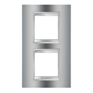 LUX INTERNATIONAL PLATE - IN METALLISED TECHNOPOLYMER - 2+2 GANG VERTICAL CENTRE DISTANCE 71mm - CHROME - CHORUS