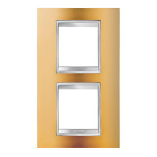 LUX INTERNATIONAL PLATE - IN METALLISED TECHNOPOLYMER - 2+2 GANG VERTICAL CENTRE DISTANCE 71mm - GOLD - CHORUS
