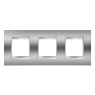 LUX INTERNATIONAL PLATE - IN METALLISED TECHNOPOLYMER - 2+2+2 GANG HORIZONTAL - CHROME - CHORUS