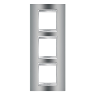 LUX INTERNATIONAL PLATE - IN METALLISED TECHNOPOLYMER - 2+2+2 GANG VERTICAL - CHROME - CHORUS