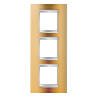 LUX INTERNATIONAL PLATE - IN METALLISED TECHNOPOLYMER - 2+2+2 GANG VERTICAL - GOLD - CHORUS