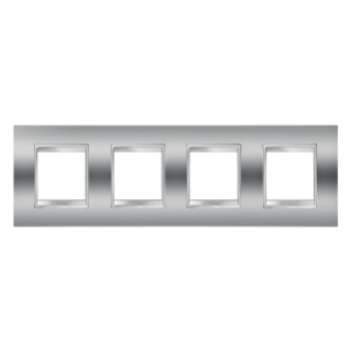LUX INTERNATIONAL PLATE - IN METALLISED TECHNOPOLYMER - 2+2+2+2 GANG HORIZONTAL - CHROME - CHORUS