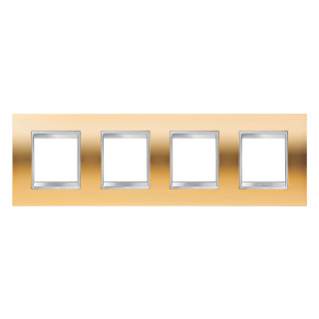 LUX INTERNATIONAL PLATE - IN METALLISED TECHNOPOLYMER - 2+2+2+2 GANG HORIZONTAL - GOLD - CHORUS
