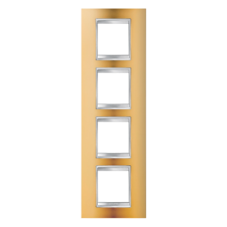 LUX INTERNATIONAL PLATE - IN METALLISED TECHNOPOLYMER - 2+2+2+2 GANG VERTICAL - GOLD - CHORUS