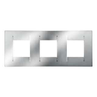 GEO INTERNATIONAL PLATE - IN METALLISED TECHNOPOLYMER - 2+2+2 GANG HORIZONTAL - CHROME  - CHORUS