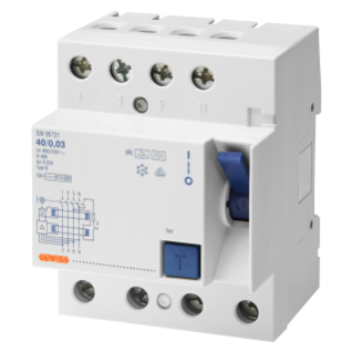 RESIDUAL CURRENT CIRCUIT BREAKER - 4P 40A TYPE B [IR]IMPULSE RESISTANT Idn=0,3A - 4 MODULES