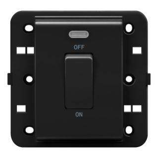 ONE-WAY SWITCH 2P 250V ac - BRITISH STANDARD - 20 A - 1 GANG - BACKLIT - BLACK - CHORUS