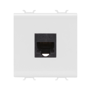 RJ45 SOCKET OUTLET - CATEGORY 6 - UTP - 2 MODULES - WHITE - CHORUS