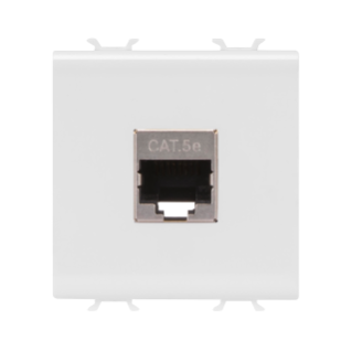 RJ45 SOCKET OUTLET - CATEGORY 5e - FTP - 2 MODULES - WHITE - CHORUS