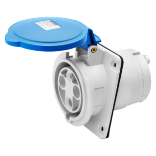10° ANGLED FLUSH-MOUNTING SOCKET-OUTLET HP - IP44/IP54 - 3P+E 63A 200-250V 50/60HZ - BLUE - 9H - MANTLE TERMINAL