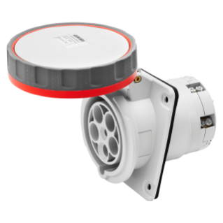 10° ANGLED FLUSH-MOUNTING SOCKET-OUTLET HP - IP66/IP67 - 3P+N+E 125A 440-460V 60HZ - RED - 11H - MANTLE TERMINAL