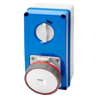 VERTICAL FIXED INTERLOCKED SOCKET OUTLET - WITH BOTTOM - WITHOUT FUSE-HOLDER BASE - 2P+E 63A 380-415V - 50/60HZ 9H - IP67