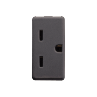 USA STANDARD SOCKET-OUTLET 250/125V ac - 2P+E 15A 250V - FLAT ALLIGNED VERTICAL PLUG - 1 MODULE - SYSTEM BLACK