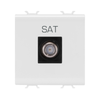 COAXIAL TV SOCKET-OUTLET, CLASS A SHIELDING - FEMALE F CONNECTOR - DIRECT  - 2 MODULE - WHITE - CHORUS