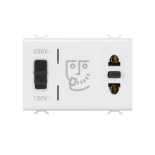 EURO-AMERICAN STANDARD SHAVER SOCKET-OUTLET WITH INSULATION TRANSFORMER - 3 MODULES - WHITE - CHORUS